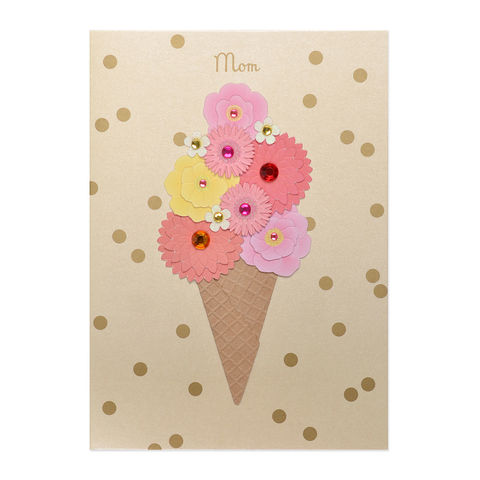 Flowers,in,Ice,Cream,Cone,(For,Mom),papyrus, handmade, greeting, card, birthday, mom, mother, ice cream, international, hong kong