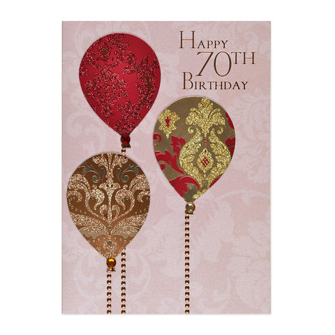 70th,Sparkle,Balloons,papyrus, handmade, greeting, card, 70th, seventieth, 70, seventy, birthday, balloons, international, hong kong
