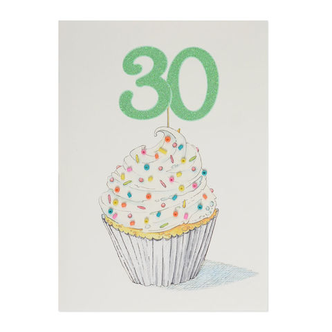 30th,Birthday,Beaded,Cupcake,papyrus, handmade, greeting, card, 30th, thirtieth, thirty, 30, cupcake, sweets, dessert, birthday, international, hong kong