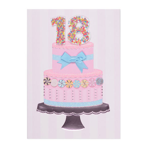 18th,Sprinkles,Cake,papyrus, handmade, greeting, card, birthday, 18th, eighteenth, eighteen, year, years, old, age, 18, international, hong kong