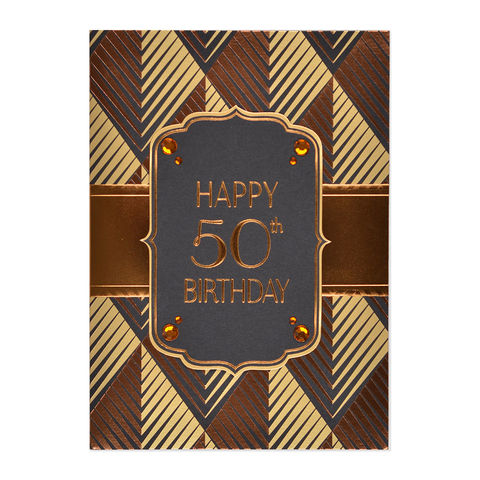 50th,Birthday,Metallic,Cartouche,papyrus, handmade, greeting, card, 50th, 50, fifty, fiftieth, birthday, international, hong kong