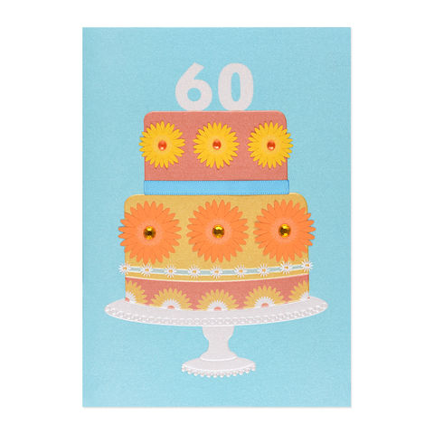 60th,Daisy,Cake,papyrus, handmade, greeting, card, 60th, 60, sixtieth, sixty, years, year, old, age, birthday, international, hong kong
