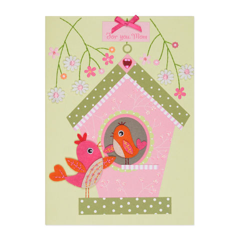 Birdhouse,(For,Mom),papyrus, handmade, greeting, card, mom, birthday, mother, birdhouse, international, hong kong