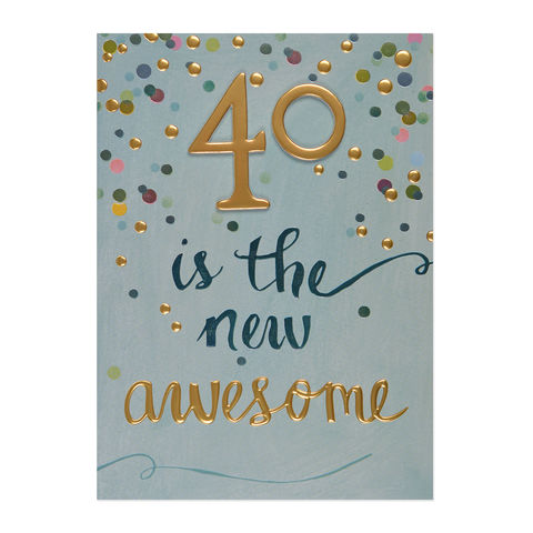 40,is,the,New,Awesome,papyrus, handmade, greeting, card, 40, forty, fortieth, 40th, birthday, international, hong kong
