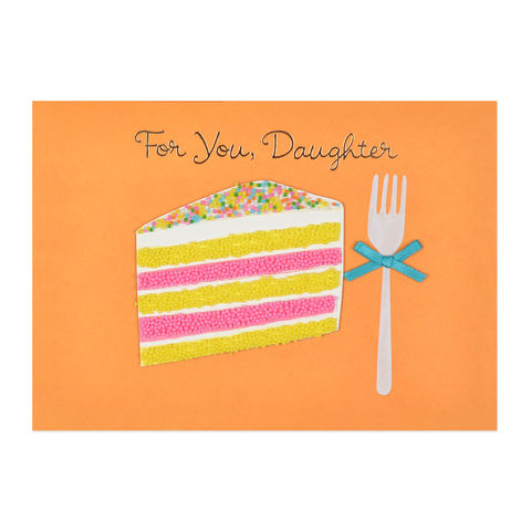 Sprinkles,With,Cake,(Daughter),papyrus, handmade, greeting, card, daughter, cake, fork