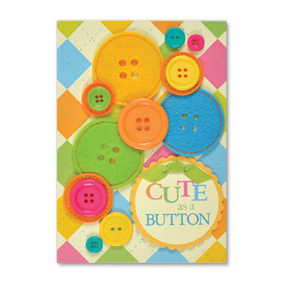 Cute,as,a,Button,papyrus, handmade, greeting, card, papyrus, new baby, button, international, hong kong