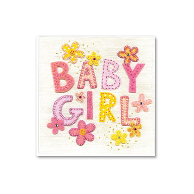 Patchwork,Baby,Girl,papyrus, handmade, greeting, card, baby girl, new baby, congratulations, international, hong kong
