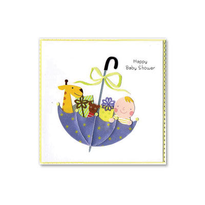 Baby,Presents,in,Umbrella,papyrus, handmade, greeting, card, baby, new baby, umbrella, presents, boy, girl, shower, international, hong kong