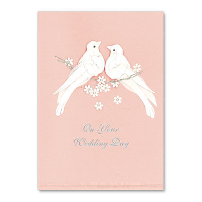 Wedding,Doves,on,Pink,papyrus, handmade, greeting, card, wedding, doves, pink, birds, international, hong kong