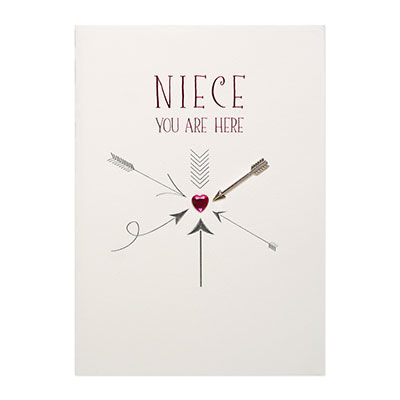 You,Are,Here,Arrows,(Niece),papyrus, handmade, greeting, card, birthday, niece, arrow, arrows, heart