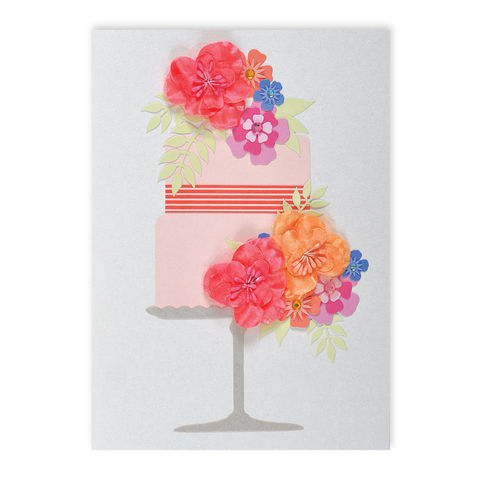 B-Day,Cake,with,Fabric,Flowers,papyrus, handmade, greeting, card, flowers, fabric, floral, cake, birthday, international, hong kong
