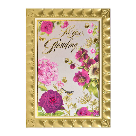 Framed,Botanical,papyrus, handmade, greeting, card, birthday, grandmother, grandma, flower, flowers, floral