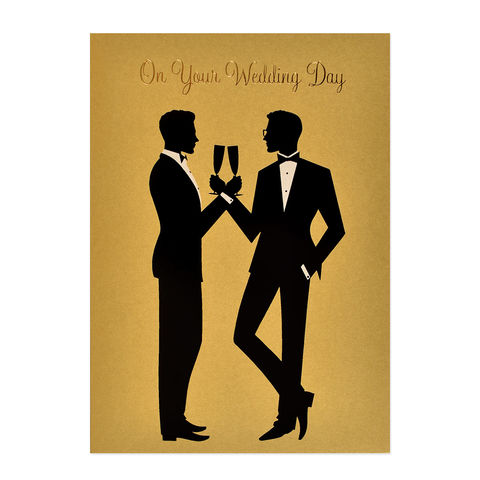 Two,Grooms,Silhouette,papyrus, handmade, greeting, card, same sex, wedding, marriage