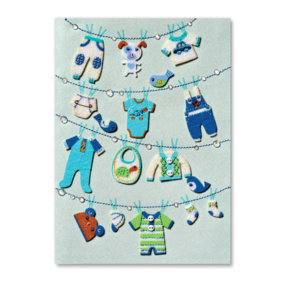 Clothesline,New,Baby,Boy,papyrus, handmade, greeting, card, new baby, boy, toddler, child, international, hong kong