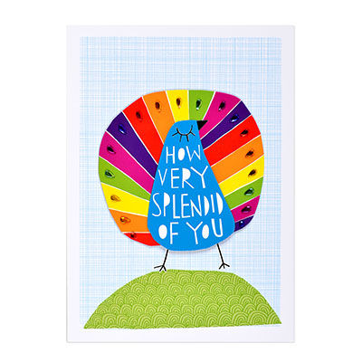 Peacock,papyrus, handmade, greeting, card, thank you, splendid, peacock