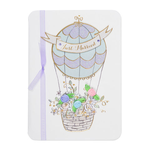Hot,Air,Balloon,With,Flowers,papyrus, handmade, greeting, card, marry, married, just married, balloon, hot air balloon