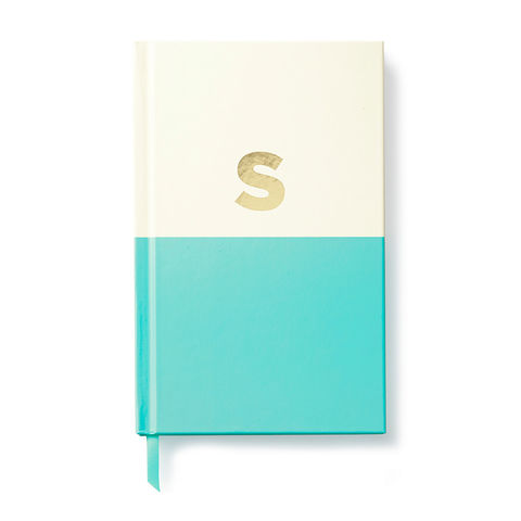 Dipped,Initial,Notebook,(S),by,Kate,Spade,New,York,kate spade, new york, dipped, initial, notebook, monogram, gold, foil, s, international