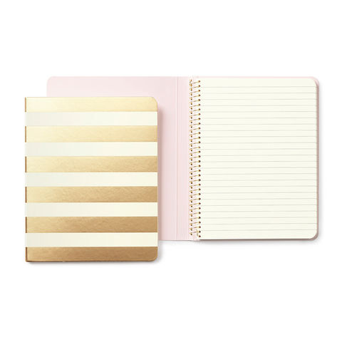 Gold,Stripe,Spiral,Notebook,by,Kate,Spade,New,York,kate spade, new york, gold, stripe, spiral, notebook, journal, international