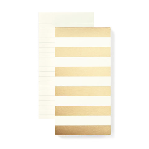Large,Gold,Stripe,Notepad,by,Kate,Spade,New,York,kate spade, new york, gold stripe, notepad, large, international