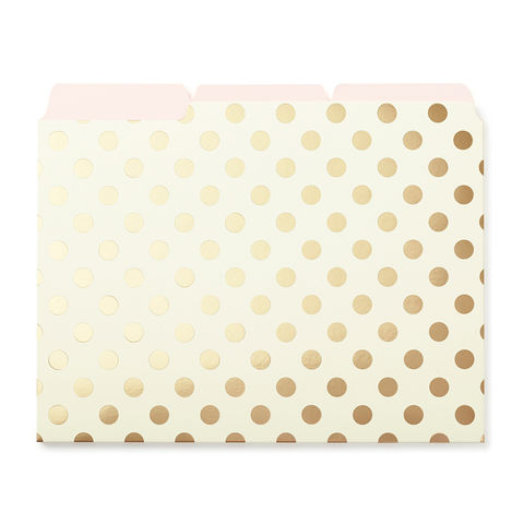 Gold,Dots,Set,of,File,Folders,by,Kate,Spade,New,York,kate spade, new york, file folders, gold dots, international