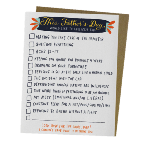 Checklist,father's day, father, dads, dad, daddy, greeting, card, emily mcdowell, studio, international