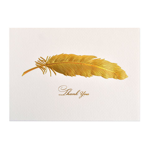 Gold,Iridescent,Feather,thank you, gold, feather, bird, iridescent, card, greeting, cards, papyrus, international