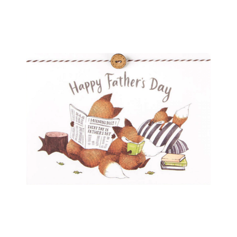 Foxes,Reading,with,Dad,Father's,Day,Card,papyrus, father's day, fathers, father, dad, dads, daddy, greeting, cards, foxes, whimsy whimsical, international, hong kong