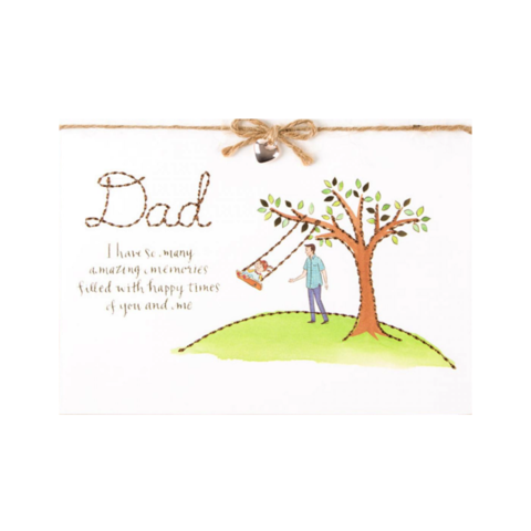 Stitched,Tree,&,Swing,(From,Daughter),papyrus, handmade, greeting, card, cards, father's day, father, fathers, dad, dads, daddy, june 19th, stitched, tree, swing, from, daughter, to, cute, international, hong kong