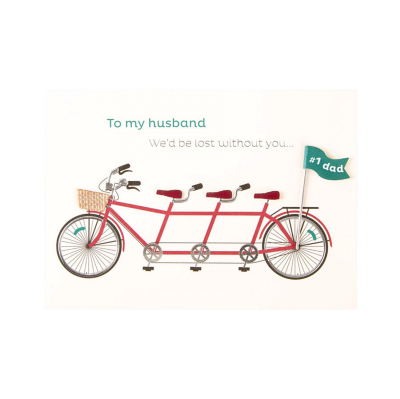 Family Tandem Bike (For Husband) Father's Day Card - product images