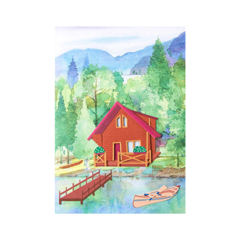 Handmade,Cabin,Scene,Father's,Day,Card,papyrus, handmade, greeting, card, cards, father's day, father, fathers, dad, dads, daddy, cabin, scene, lake, by, nature, international, hong kong