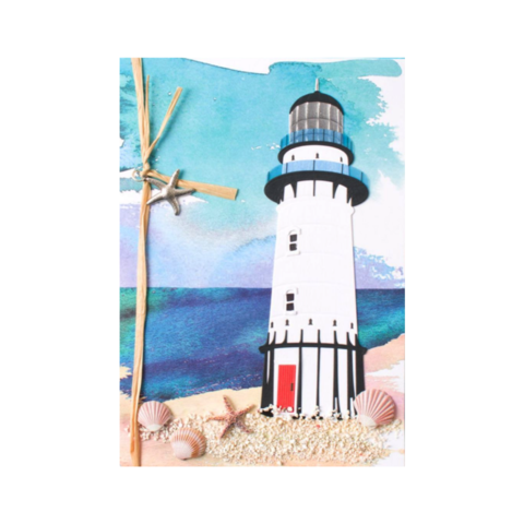 Handmade,Lighthouse,papyrus, handmade, greeting, card, cards, father's day, father, fathers, dad, dads, daddy, june 19th, nineteenth, lighthouse, ocean, sea, water, beach, international, hong kong