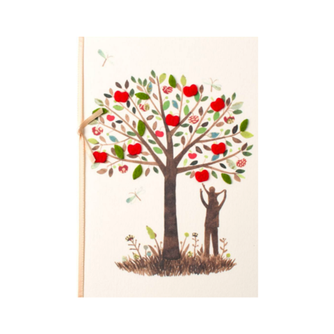 Dad,&,Child,at,Apple,Tree,papyrus, handmade, greeting, card, cards, father's day, father, fathers, dad, dads, daddy, june 19th, nineteenth, apple, tree, nature, international, hong kong