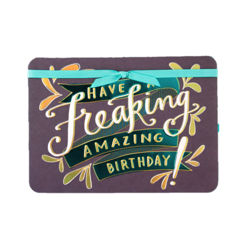 Freaking,Amazing,Birthday,papyrus, emily mcdowell, studio, birthday, handmade, greeting, card, ribbon, shimmery, international, hong kong