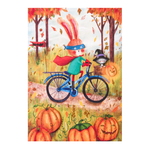 Animals,in,Costumes,papyrus, halloween, handmade, greeting, card, season, fall, autumn, cards, cute, costumed, costumes, bike, bicycle, bunny, rabbit, international, hong kong