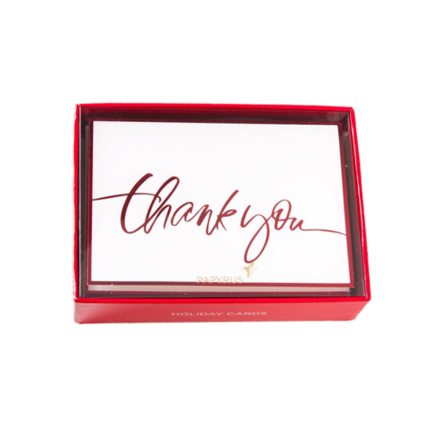 Red,Foil,Boxed,Thank,You,Cards,(Set,of,12),papyrus, christmas, xmas, xbc, boxed, box, cards, card, handmade, greeting, holidays, holiday, thank you, international, hong kong