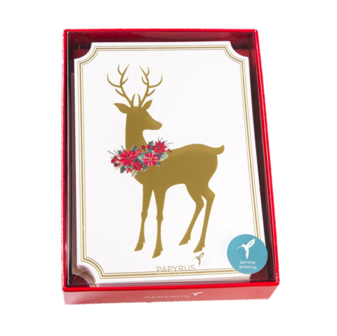 Reindeer,With,Wreath,Boxed,Holiday,Cards,(Set,of,14),papyrus, christmas, xmas, xbc, boxed, box, cards, card, handmade, greeting, holidays, holiday, reindeer, poinsettia, international, hong kong