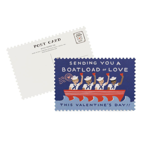 Boatload,of,Love,Postcard,(Set,10),rifle paper co, valentine's, valentine, day, love, romance, postcard, postcards, set, of, ten, 10, stationery, boxed, box, boatload, handmade, greeting, card, international, hong kong