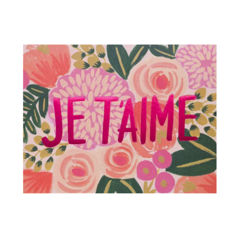 Je,T'aime,rifle paper co, je t'aime, i love you, french, text, valentine's, valentine, day, love, romance, international, hong kong