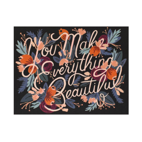 Everything,Beautiful,rifle paper co, everything, beautiful, love, romance, valentine's, valentine, day, handmade, greeting, card, international, hong kong