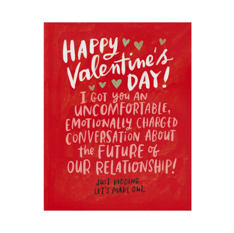 Uncomfortable,Convos,Valentine's,Day,Card,emily mcdowell, greeting, card, humor, funny, romance, love, valentine's, valentine, day, international, hong kong
