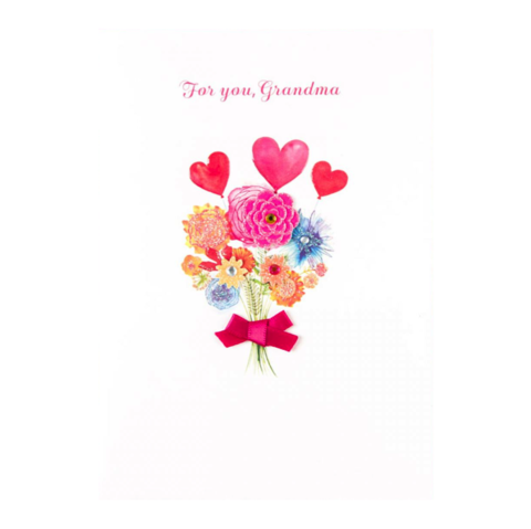 Floral,With,Heart,Balloons,(For,Grandma),Mother's,Day,Card,papyrus, handmade, greeting, card, mother's, day, mother, mom, mum, floral, flowers, flower, heart, balloons, balloon, grandma, grandmother, whimsy, bouquet, international, hong kong