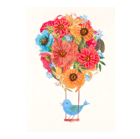 Flower,Balloon,With,Bird,papyrus, handmade, greeting, card, mother's, day, mother, mom, mum, flower, balloon, floral, bird, balloons, flowers, vellum, glitter, gem, bluebird, international, hong kong