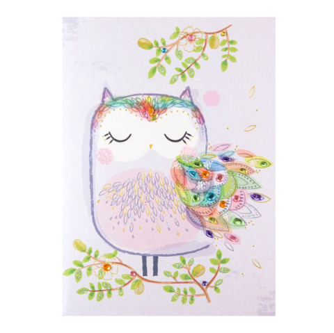Gem,Owl,papyrus, handmade, greeting, card, mother's, day, mother, mom, mum, gem, owl, wings, wing, sweet, cute, international, hong kong