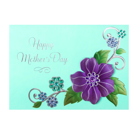 Gem,Encrusted,Floral,Mother's,Day,Card,papyrus, handmade, greeting, card, mother's, day, mother, mom, mum, gem, encrusted, floral, flower, flowers, elegant, international, hong kong