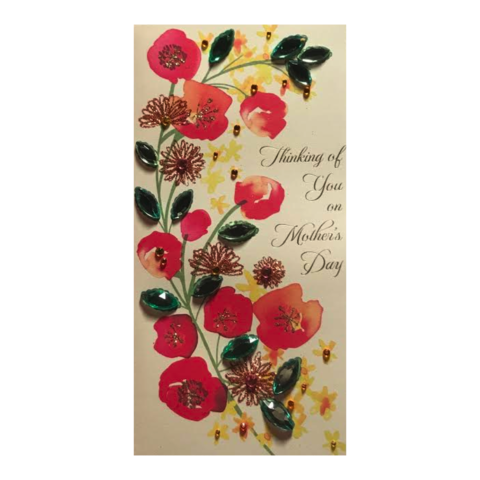 Gemmed,Flowers,and,Watercolor,Mother's,Day,Card,papyrus, handmade, greeting, card, mother's, day, mother, mom, mum, gemmed, flowers, watercolor, international, hong kong