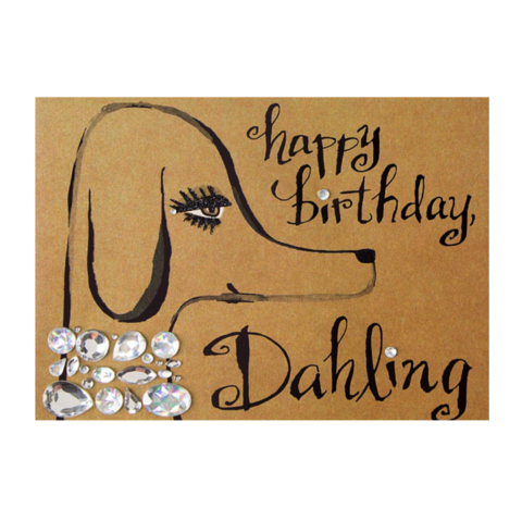 Glamorous,Dog,papyrus, handmade, greeting, card, dog, fabulous, birthday, fashion, jewelry, international, hong kong