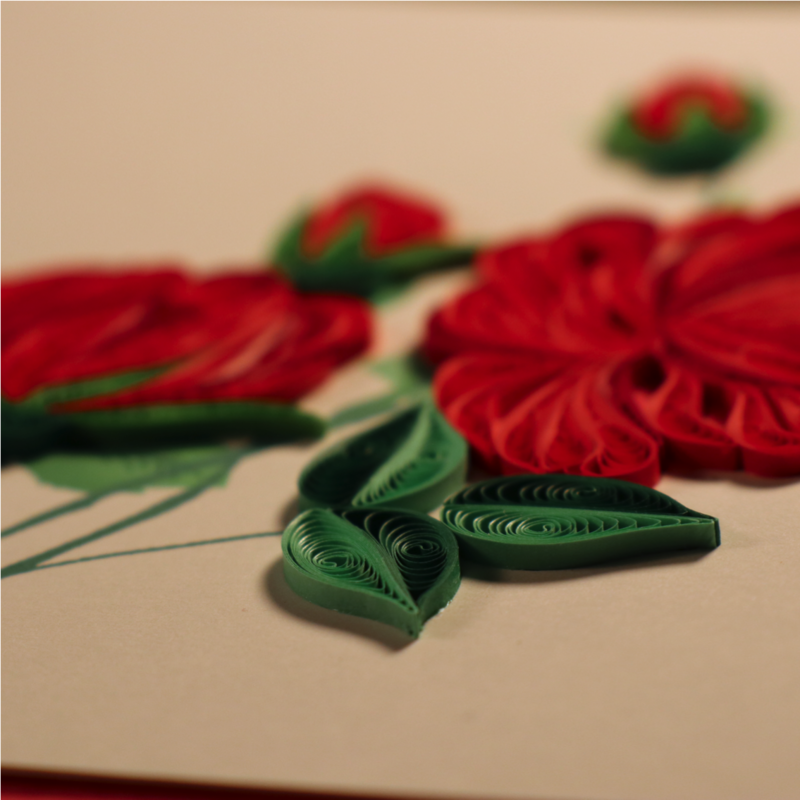Batch of Red Roses Handmade Fair Trade Quilling Card - product images  of