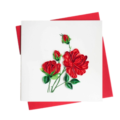 Batch,of,Red,Roses,Handmade,Fair,Trade,Quilling,Card,red, rose, bouquet, batch, of, handmade, fair trade, quilling, card, cards, paper, luxurious, watercolor, roses, lasercut, laser, cut, kishu, vietnam, exclusive, branded, brand, branding