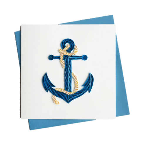 Blue,Anchor,Handmade,Fair,Trade,Quilling,Card,handmade, fair trade, quilling, card, cards, paper, luxurious, lasercut, laser, cut, kishu, vietnam, exclusive, branded, brand, branding, blue, anchor, rope, sea, beach, vacation