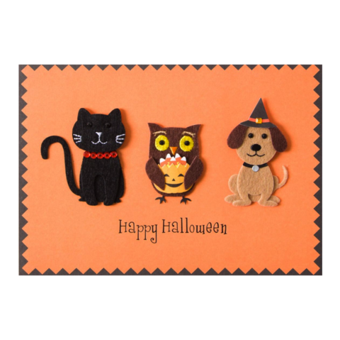 Handmade,Halloween,,Cat,,Dog,+,Owl,papyrus, handmade, greeting, card, halloween, greetings, cards, cats, cat, dog, dogs, owl, owls, cute, animals, animal, spooky, furry, friendly, friends, playful, sweet, fun, funny, felt, tip-on, gems, gem, adorable, charm, endearing, international, hong